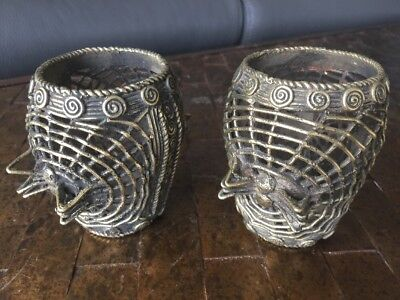 Pair of Brass Filigree Spider Cups, Persian Art, African? Byzantine? Remarkable!