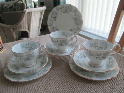 Set Of 3 Royal Albert Silver Maple Trios (Tea Cups, Saucers & Tea Plates)