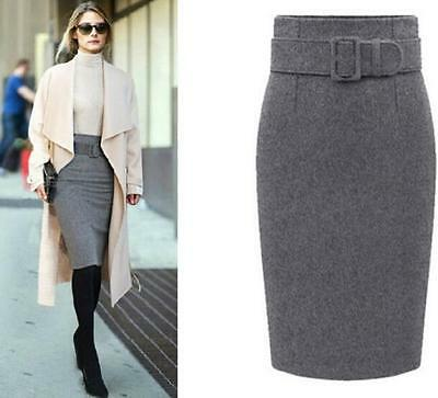 Women Fall Winter Warm One Step Office OL Lady Wool Blend Belt Sexy Skirt Dress