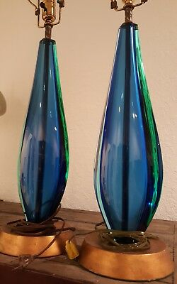 Mid Century Exquisite Pair of Flavio Poli Murano Lamps Blue and Green