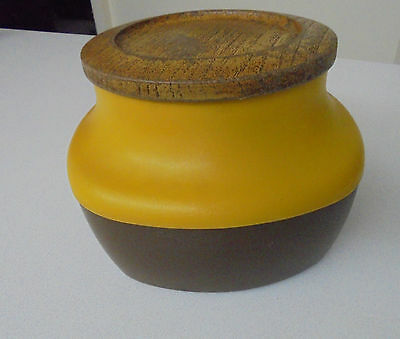 70's Yellow and Brown Biscuit Barrel or Canister- BX Plastics Capri Casa Suttie