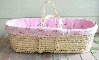 Large Moses Basket Baby Carrier Bassinet with Ribbon Roses Pink Bedding 32 ins