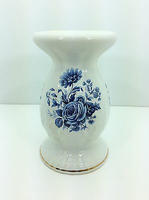Maryleigh Pottery Pillar Candle Holder - Blue Floral Pattern - Handcrafted