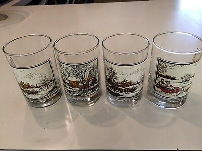 SET/4 ARBY'S CURRIER & IVES WINTER CHRISTMAS OLD FASHION ROCK GLASSES Collectors