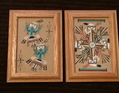 Pair of Framed Native American Sand Paintings Whirling Rainbow and Yei