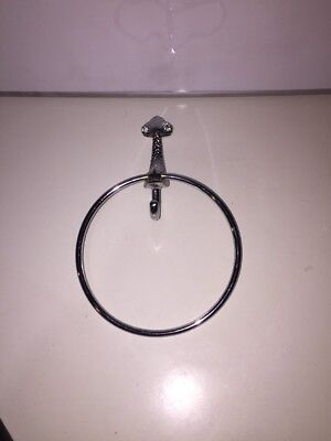 Vintage Handy Andy CHROME Plated Steel ROUND Towel RING  Bathroom Dolphin