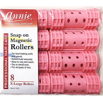 """Annie Snap On Magnetic Rollers #1221, 8 Count Pink X-Large 1-1/8"""""""