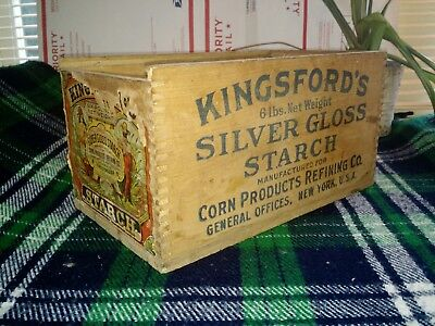Vintage Kingsford's Silver Gloss Starch Wood Box Color Litho Label, Antique