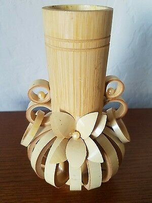 Vintage 1950's Hand-made Bamboo Wood Decorative Flower Vase Korean