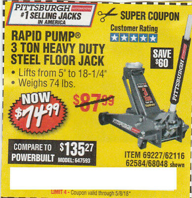 Harbor Freight  save $60 *Coupon*For RAPID PUMP 3TON HEAVY DUTY STEEL FLOOR JACK