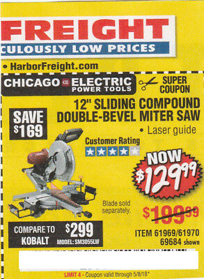 "Harbor Freight  save $169*Coupon*For 12"" SLIDING COMPOUND DOUBLE-BEVEL MITER SAW"