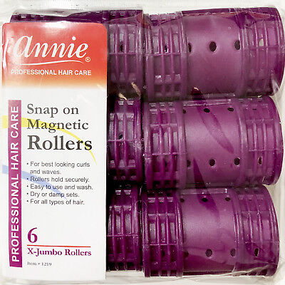 Annie Snap On Magnetic Rollers #1219, 6 Count Purple X-Jumbo 1-3/4""