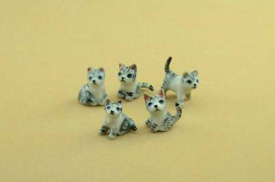 New Five Miniatures Grey Kittens, 1/2'' High *stunning* With Box