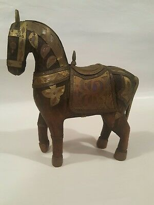 Vintage Hand Carved Wood Horse Sculpture Figure Armoured Brass Copper 7.5X8.5""