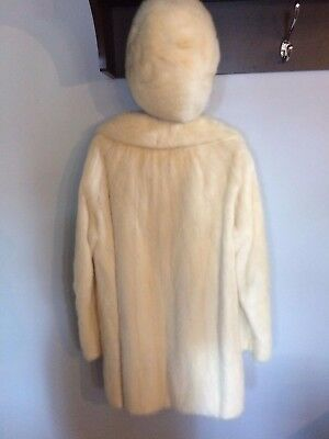Vintage Mink Coat and matching hat size medium in creamy white