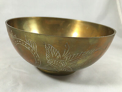 Vintage Brass Etched Floral Bowl Centerpiece Potpourri Keys Trinket Dish Antique