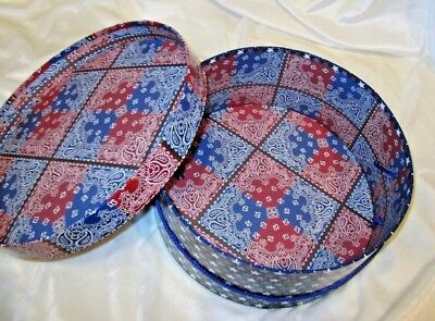 "Hat Box Americana Storage Shoes Make-up Belts Scarves 13"" Diameter  #E3"