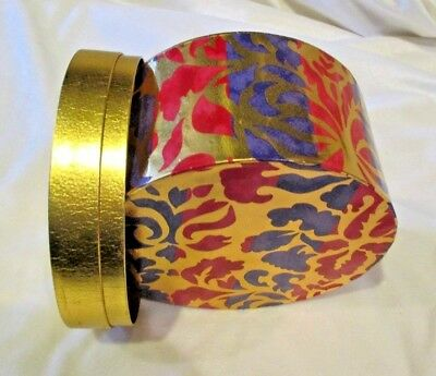 "Hat Box Storage Vintage 5 1/4"" Tall 7 1/2"" Diameter Purple Red Gold Accessories"