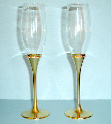 Reed Barton Luxe Facets Gold Champagne Flute Set Of 2 Wedding Toasting New