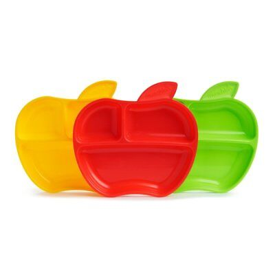 BEST Kids Toddler Baby Plates Safe BPA Free 3 Divided Sections Apple Shaped 3PCs