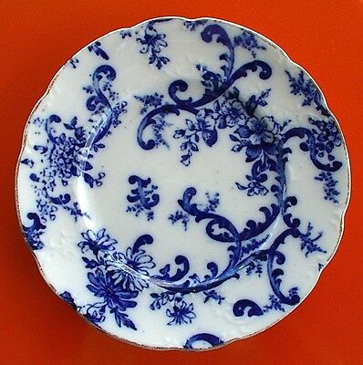 "ANTIQUE FLOW BLUE PLATE MERCER PAISLEY 7"" AMERICAN POTTERY CO Floral & Scroll"