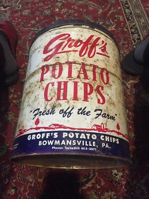 Vintage Groff's Potato Chip Can 7 Lbs Bowmansville PA
