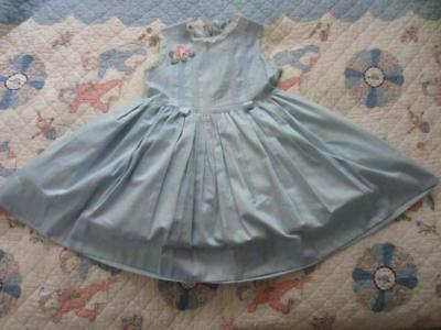 vtg 50's Tiny Town Togs Blue Polished Cotton Sleeveless Dress Applique Girls 4