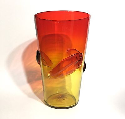 Blenko 366 M Vase w/ Applied Leaves in Tangerine 1960s Orange Mid-Century Glass