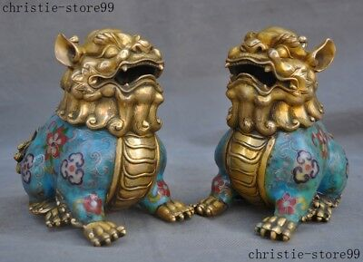 Old China Bronze Cloisonne Fengshui Lucky Unicorn Lion Foo dog Beast Statue Pair
