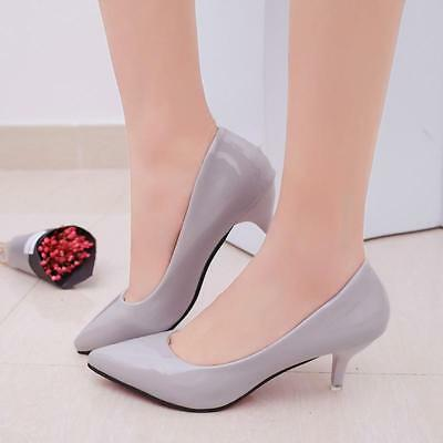 Women Low Mid Kitten Heels Office Work Patent Leather Pointed Toe Pumps Shoes L