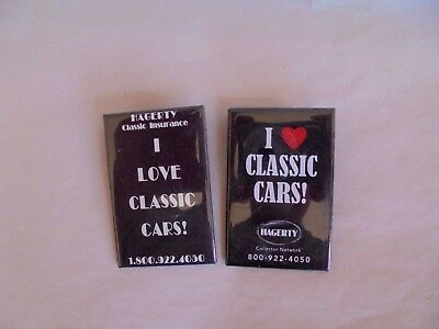 2 Cool Vintage Hagerty I Love Classic Cars Auto Insurance Advertising Pinback