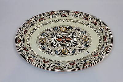 Antique 1870's Wedgwood Pottery Rare Multi-Color Mistletoe Large Platter Dish