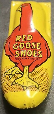 Vintage Red Goose Shoes Tin Litho Toy Clicker Noise Maker USA