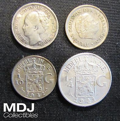 Lot of 4 Netherlands Silver Coins - 1941 10 Cents, 1941 1/4 Gulden, 1942-S 1/10