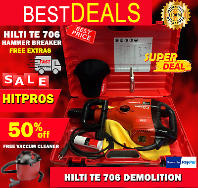 Hilti Te 706 Demolition Hammer Breaker, Free Hilti Hat & Knife, Fast Ship