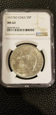 Chile 1927 Silver 5 Peso Ngc MS 62