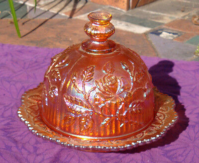 Imperial Glass Butter Dish Domed Open Rose Pattern Vintage Carnival Marigold