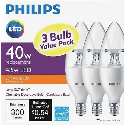 3 pack Philips LED B11/40W replacement Candelabra Base Dimmable soft white bulbs
