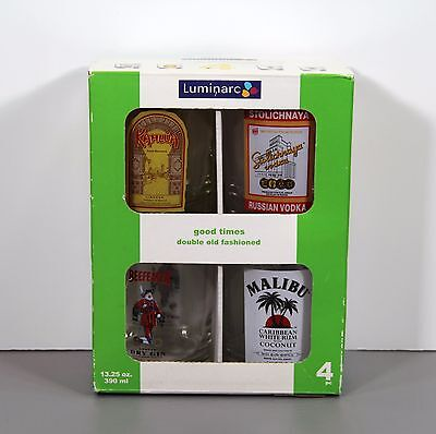 Set of 4 Good Times Old Fashioned Tumblers 13.25 Ounces in Box - Luminarc
