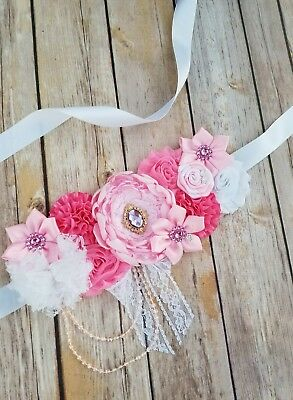 Pink And White Maternity Sash/sash For Picture Belly Band For Girl