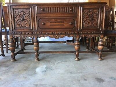 English Tudor Style 1920s Antique Carved Oak Sideboard, Server or Buffet