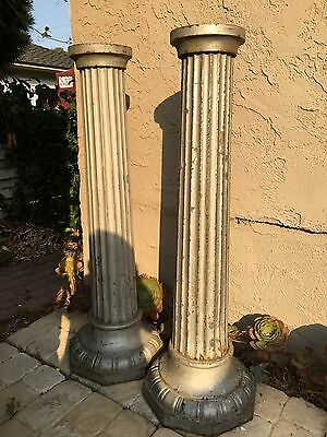 "Pair Antique 43"" Cast Iron & Steel Street Light Poles Posts Bases Some Rust"