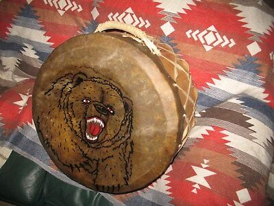 Native American PowwowDrum- Hand Painted Apache Drum by Red Hand