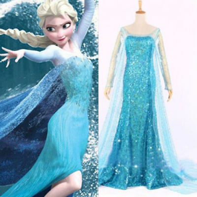 Adult Womens Frozen Snow Queen Elsa Costume Cosplay Party Gown Fancy Dress
