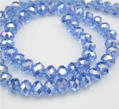 Jewelry Faceted 70pcs 6*8mm Light blue AB Roundelle Crystal Beads DIY!