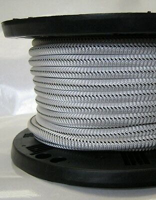 """5/16"""" 1000 ft Bungee Shock Cord White With Black Tracer Marine Grade Heavy Duty"""