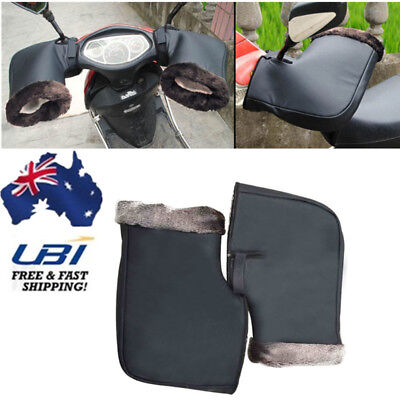 AU Motorcycle Handle Bar Mitts Hand Faux Warmer Motorbike Bar Muffs Gloves Black