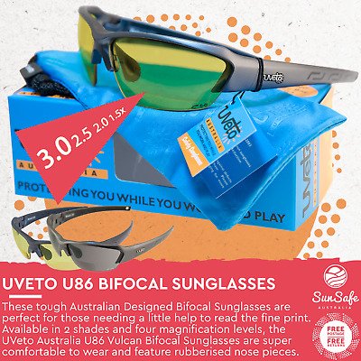 UVeto Australia Safety Styled Bi-Focal Glasses Cycling Fishing Sunglasses