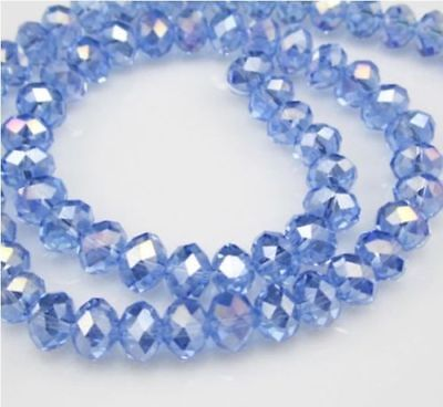 Jewelry Faceted 100pcs 4*6mm Light blue AB Roundelle Crystal Beads DIY!