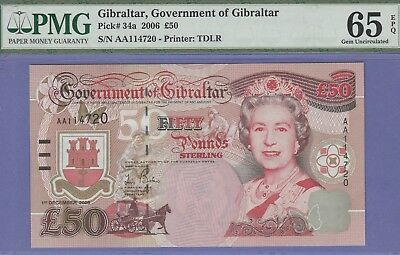 Gibraltar 50 Pound's Banknote 1.12.2006 Gem Uncirculated Grade-65-EPQ Cat#34-A